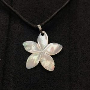 Jewelry - Mother Of Pearl Shell Plumeria Pendant Necklace
